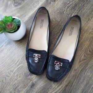 Michael Kors Sz 9 Black Loafer Flats Silver Charms